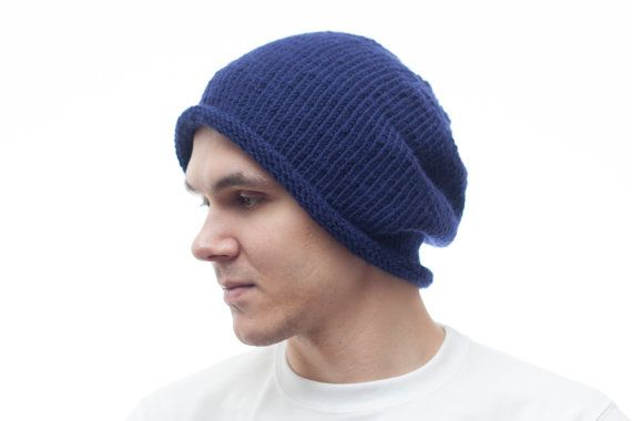 Navy Blue Mens Knit hat Cloche Hat Wool Beanie by OneHatStore