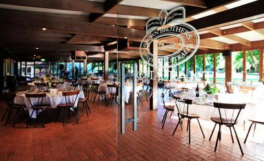 The Epicurean Centre at Brown Brothers Winery set for the wedding guests. Photo: John Mitchell