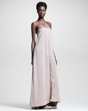 Brunello Cucinelli Strapless Runway Gown & Long Ombre Cashmere Scarf