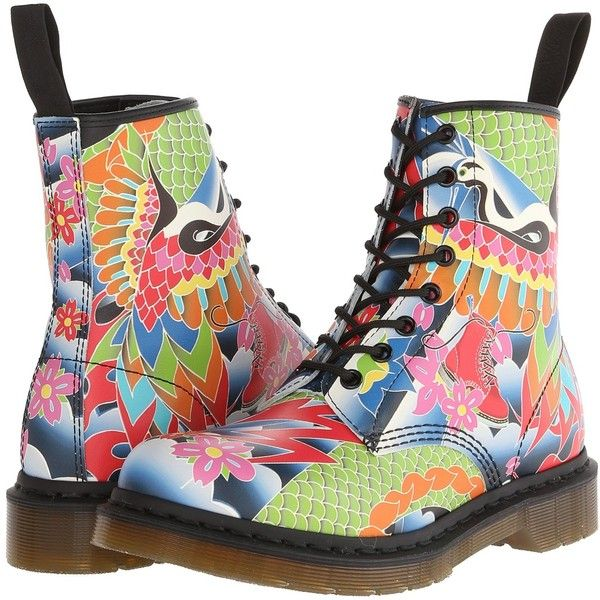 Dr. Martens 1460 W 8-Eye Boot Women's Lace-up Boots, Multi ($100) ❤ liked on Polyvore featuring shoes, boots, ankle booties, ankle boots, multi, short boots, short lace up boots, platform bootie and lace up bootie