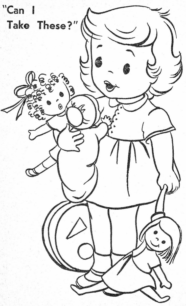 vintage coloring pages of children - photo#23