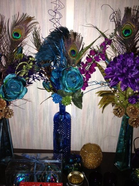multicolor peacock centerpiece flowers pinterest peacock rh pinterest com Peacock Color Wedding Cake Purple and Teal Peacock Wedding Arrangements