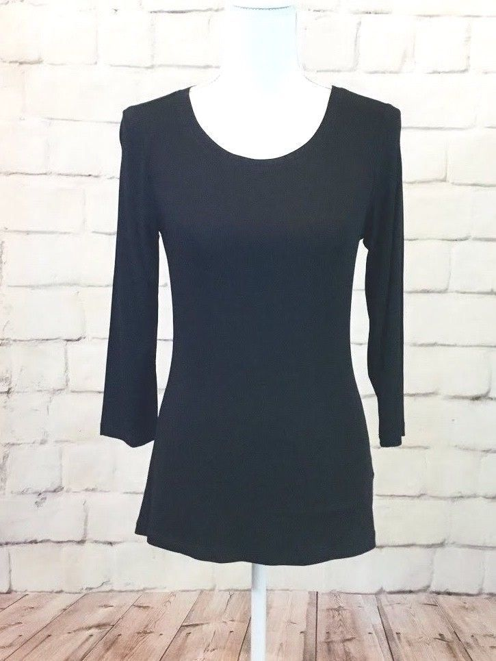 Nwt Cable Gauge Womens Solid Black Rayonspandex 34 Sleeve
