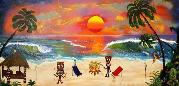 "Huge Tiki Art  24"" x 48"" canvas  Tiki bar art painting,tiki art on canvas,  Tiki party ,  tropical beach art decor. Beach art nautical decor"