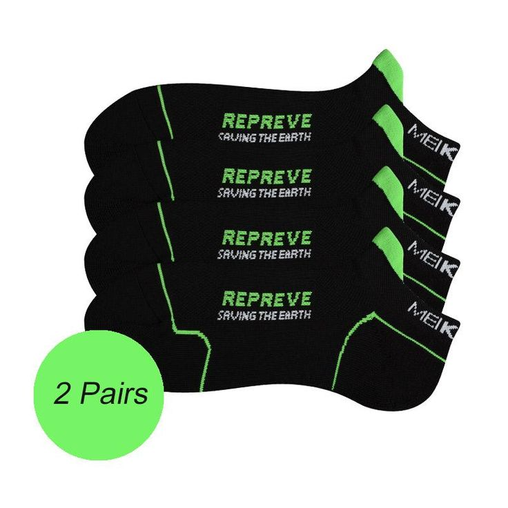 MEIKAN 2 Pairs REPREVE Green Cycling Socks Cushioned Recycling Low Cut Sport Socks Meias Compression Ankle Calcetines Ciclismo