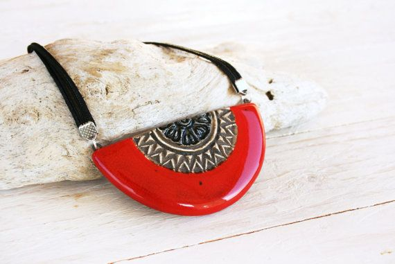 Mexican ceramic pendant Ceramic statement by SaidartCeramic