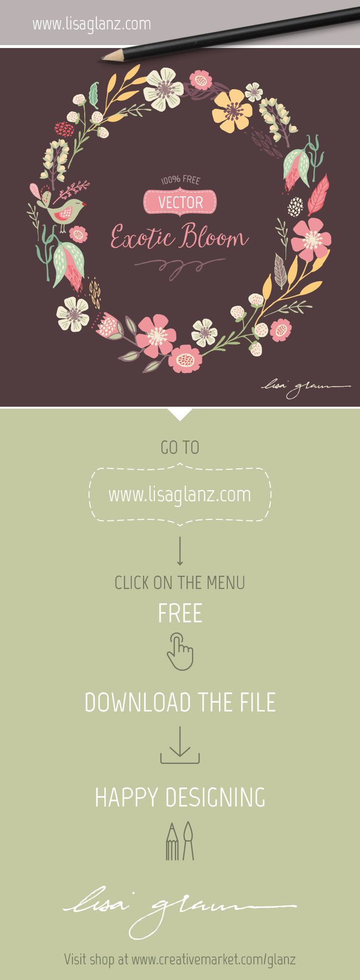 Free vector wreath design. Go to www.lisaglanz.com to download. Enjoy! #free #graphic #illustration #vector