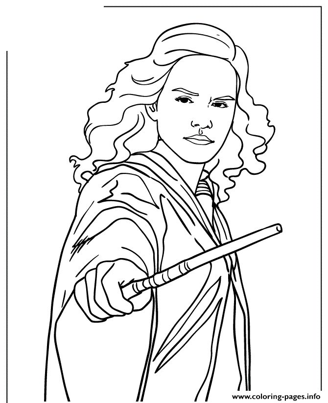print harry potter hermione granger holding wand coloring