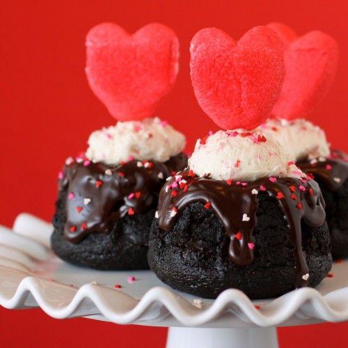 Dark Chocolate Baby Bundt Cakes With Chocolate Ganache And Marshmallow Peeps Heart