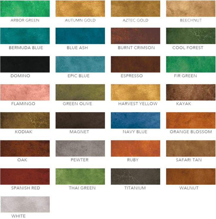 Concrete Stain Color Chart ( Eco Stain)