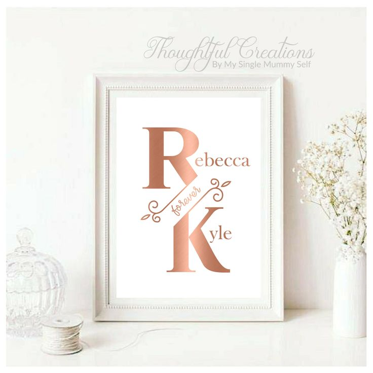 Personalised Anniversary Gift, Personalised Valentines Day Gift, Personalised Wedding Gift, Personalised Print, Rose Gold Decor, Home Decor