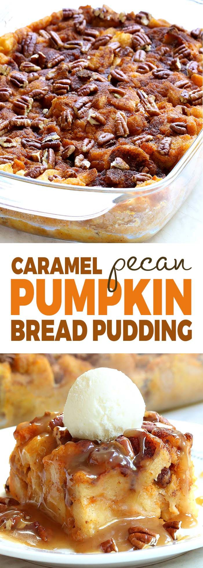 Looking for the ultimate breakfast dish for Thanksgiving?! Look no more! this super-decadent caramel pumpkin pecan bread pudding is an awesome addition to any Thanksgiving table.