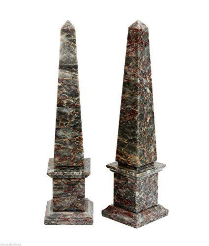COPPIA OBELISCHI in Marmo Salomè Marble Couple Obelisk Classic Sculpture Home Old Design H 33 cm