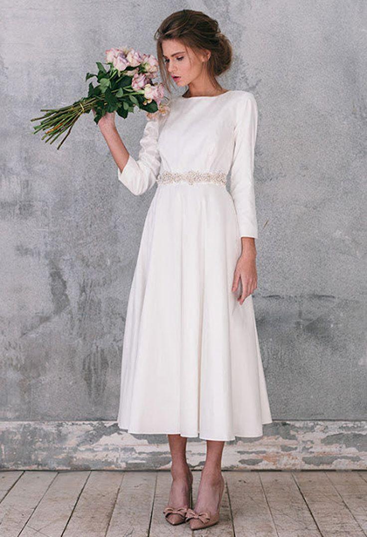 Свадебные платья дешевые с кристаллами длинным рукавом бисером створки под 100 чай длина Boho платье невесты Vestido де Noiva Barato купить на AliExpress