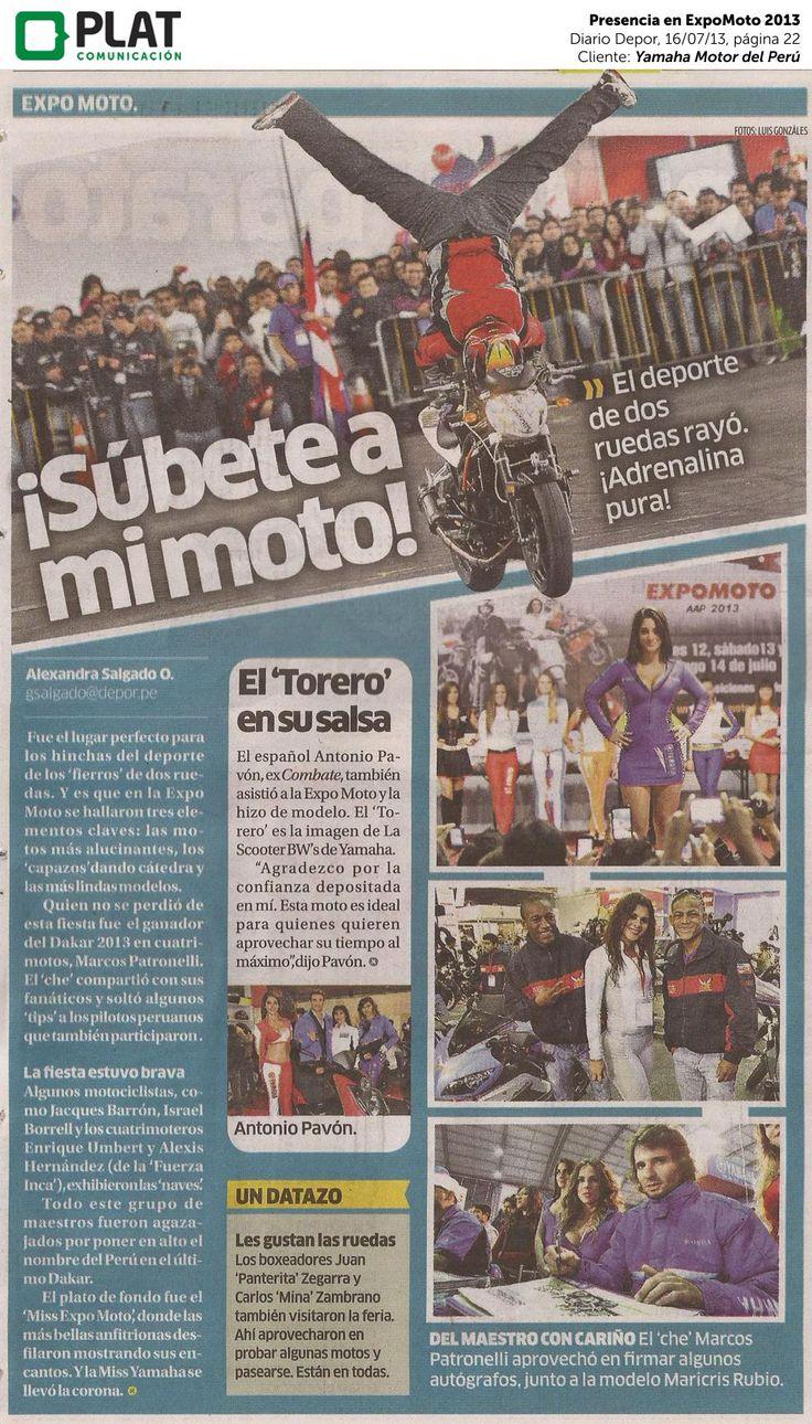 Yamaha: Presencia en ExpoMoto 2013 en el diario Depor de Perú (16/07/13)