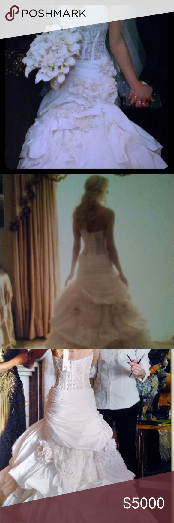 """Pnina Tornai, two-piece, custom wedding dress. This dress was designed, in person, with Pnina at Kleinfelds. The corset and bottom pieces can fit any size and can be adjusted. I am 5'1"""" but wore 4.5 inch heels on my wedding day. The dress can also be shortened, lengthened or bustled. It's Swarovski Crystal, Chantilly lace, silk and all the finest fabrics. It's one of a kind and 100% Original! I have the receipt for proof of Authenticity and original price. Pnina Tornai Dresses Wedding"""