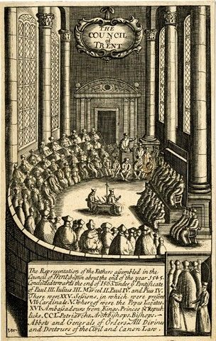 The Council of Trent in debate; illustration (?) to unidentified book. Engraving     Print made by: William Faithorne      British     1640-1670