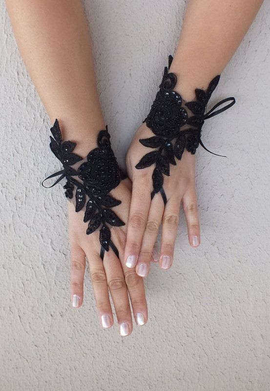 Rose gothic lace, Halloween costume, black Wedding gloves bridal gloves fingerless gloves french lace beaded embrodeired free ship