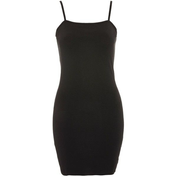 Topshop Mini Bodycon Dress ($13) ❤ liked on Polyvore featuring dresses, black, strappy dress, square neck mini dress, cotton dress, strap bodycon dress and bodycon dress