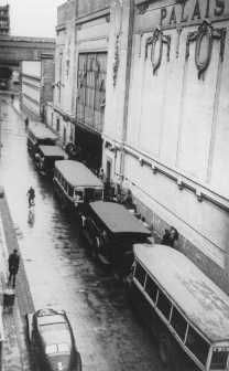 Buses waiting at the entrance to the Velodrome d'Hiver, where almost 13,000 Jews were assembled before being transported to Drancy and other French transit camps. Paris, France, July 16 and 17, 1942.