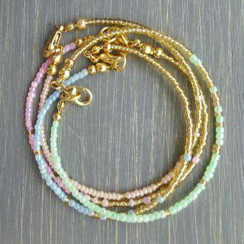 Pastel Pink & Gold Seed Bead Bracelet - Ombré