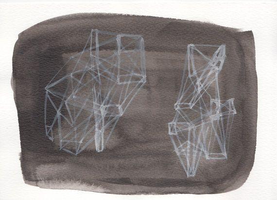 Habitats - Original illustration. Ink and gouache on paper on Etsy, £6.00