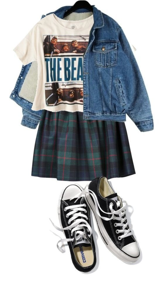 This 1990's outfit is a plaid skirt, with a beatles cropped top, a jean jacket and black converse.