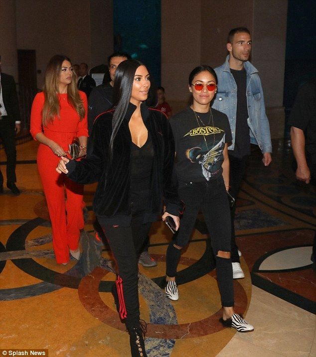 A taste of home: The group dined at one of Kim's Los Angeles' favourites, Nobu, which is located in the famed Atlantis hotel on Thursday night