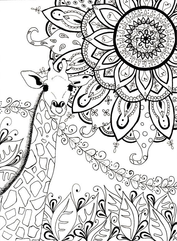 153 best giraffes images on pinterest giraffes adult coloring and coloring books - Mandala pour adulte ...