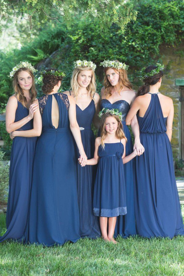 Bari Jay Bridesmaids in navy blue: http://www.stylemepretty.com/2015/11/05/bari-jay-bridesmaids/