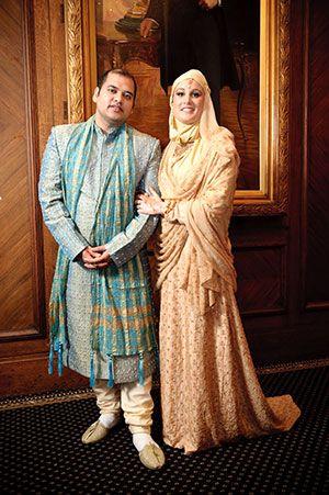 abayatrade.com Peach Colored Muslim Wedding Dress