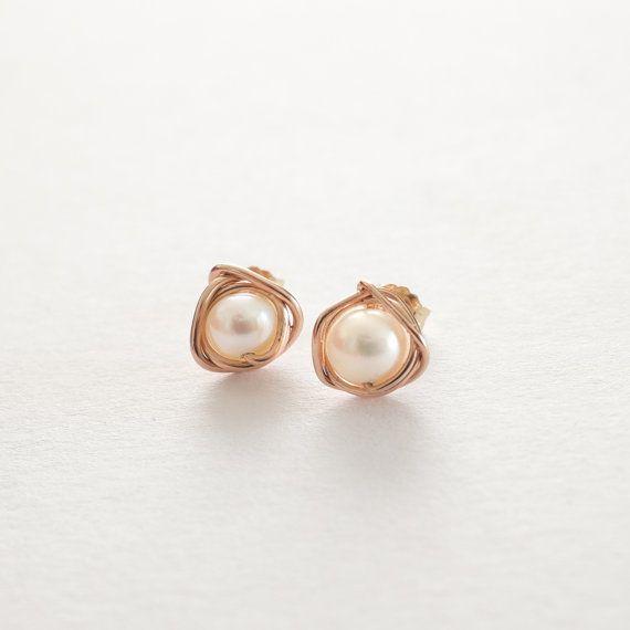 Pearl 14k Rose Gold Stud Earrings Silver/Gold by deezignstudio