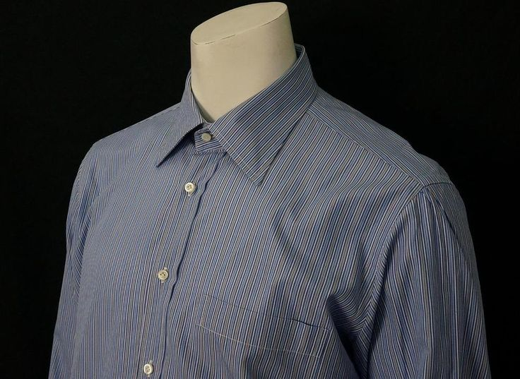 Luciano Barbera Dress Shirt Slim Fit Stripe 100% Cotton Made in Italy sz 17 1/2 #LucianoBarbera