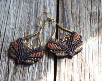 Oriental boho macrame earrings in olive red by JoyMadebySahraJoy