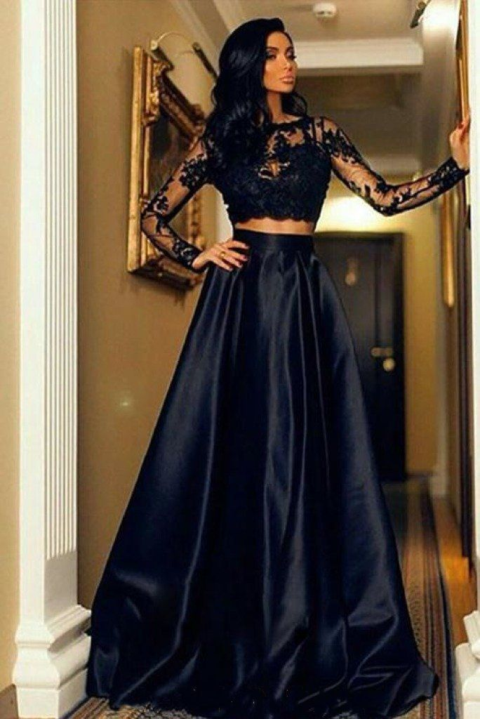 8adbc09c44f two piece black long prom dresses, formal long sleeves evening dresses for  women, simple a line prom dresses #dressestime #2piecesdresses #promgowns