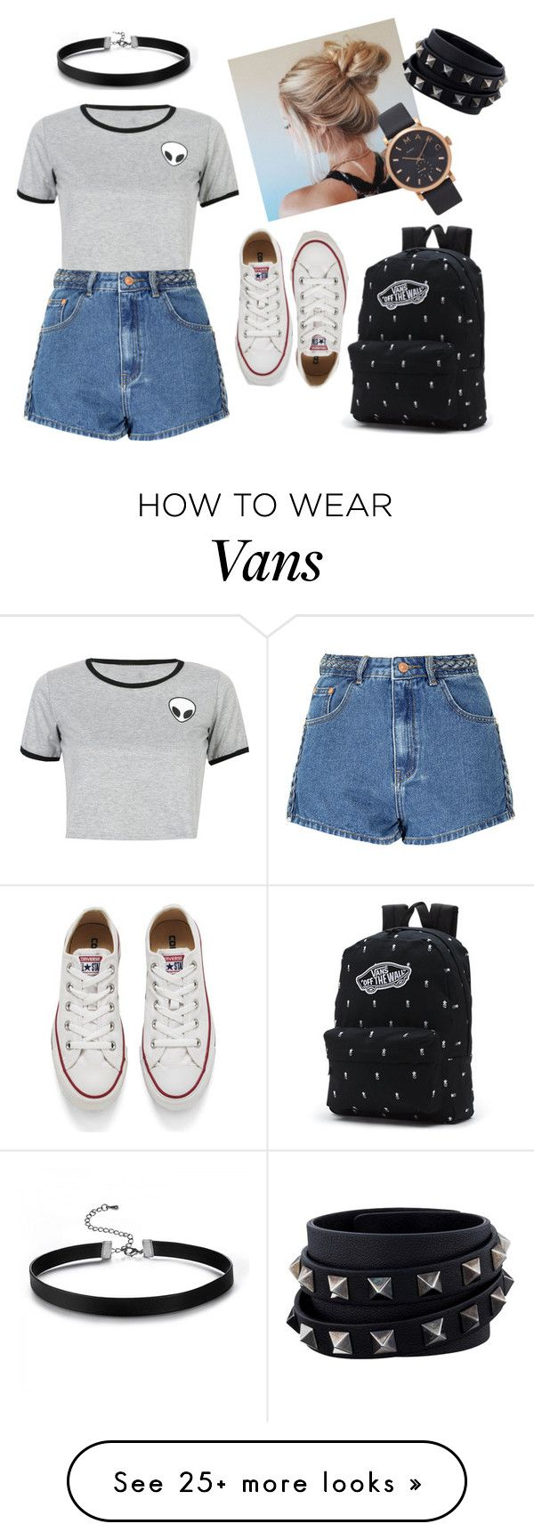 """Untitled #1"" by gencostan7 on Polyvore featuring WithChic, Converse, Glamorous, Marc Jacobs, Vans and Valentino"