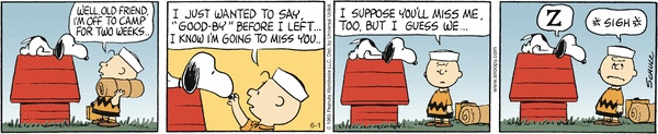 "Snoopy: ""I'll think of you but I hate long, wet goodbyes."""