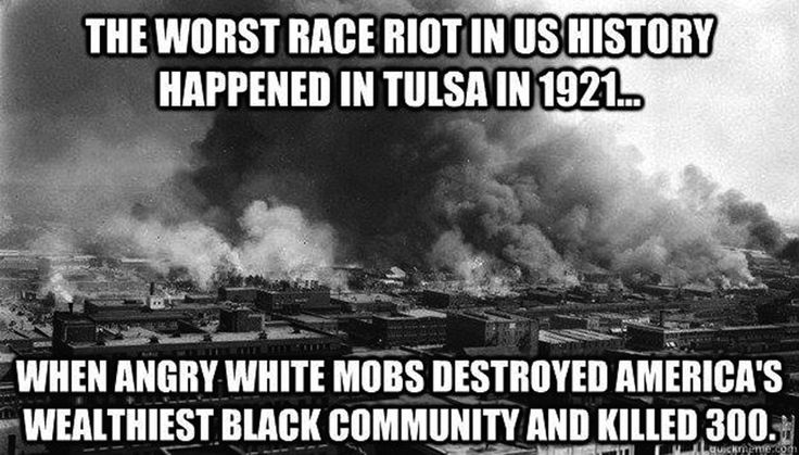 tulsa race riots essay The catalyst for the riot has been traced to a story run in the daily tribune which  accused  tulsa had a violent race history preceding the events of 1921.