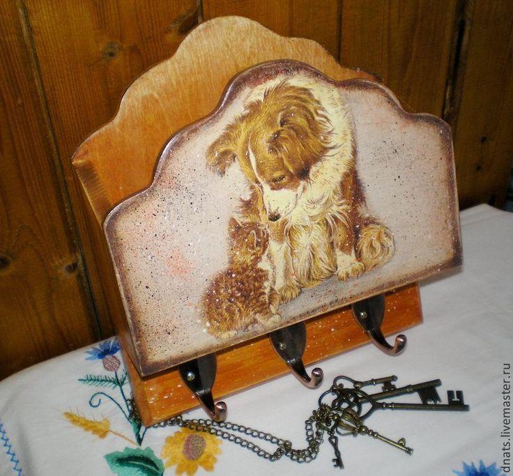 """Ключница с ящиком для писем """"Кто сказал мяу"""" - эксклюзивный подарок,Ключница декупаж"""
