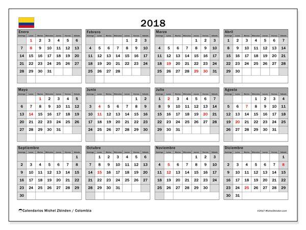 Calendario  2018 - Días festivos en Colombia (co)