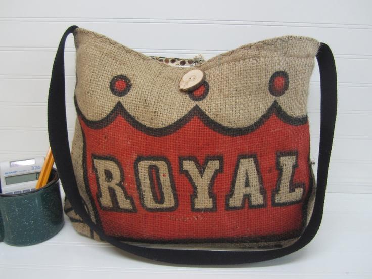 LOVE this! Burlap Tote Bag, Coffee Burlap Tote, Recycled