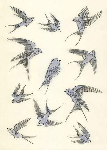 Wouldn't go for a swallow as that is a bit cringey-hipster, but I just like the wing shapes of some of this, swooping and taking off.