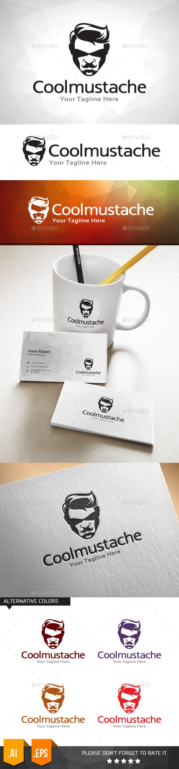 Cool Mustache	 Logo Design Template Vector #logotype Download it here: http://graphicriver.net/item/cool-mustache-logo-template/11031659?s_rank=832?ref=nexion