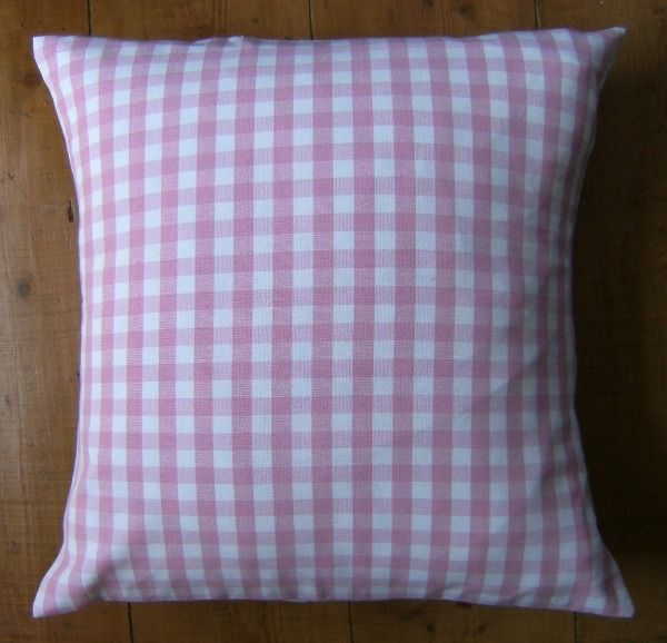 Handmade Pink Gingham Cushion Cover Generously enveloped backed in natural calico cotton 16 x 16 Placement of fabric will vary due to run of