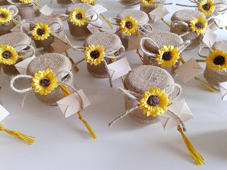 bomboniera segnaposto - vasetto confetti girasole e juta - barattolo confetti -   eBay