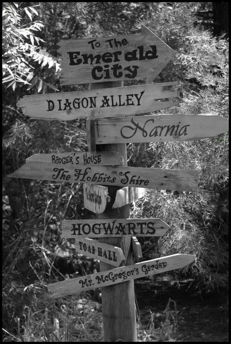 Signs to the places I'd like to go. Cute for a children's garden space.