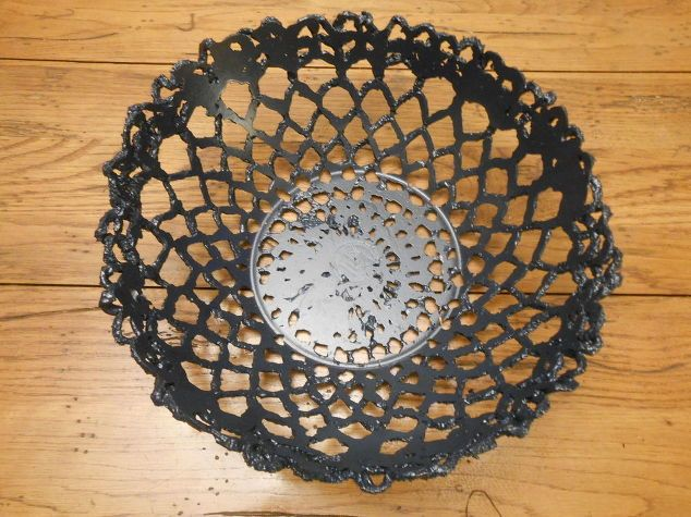 create cement lace using doilies and other crochet items, concrete masonry, container gardening, crafts, gardening, how to, Cement bowl using a crochet doily