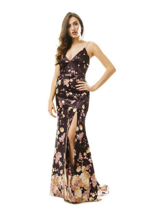 75748b4bfb Vestido em cetim estampa floral alças de correntes