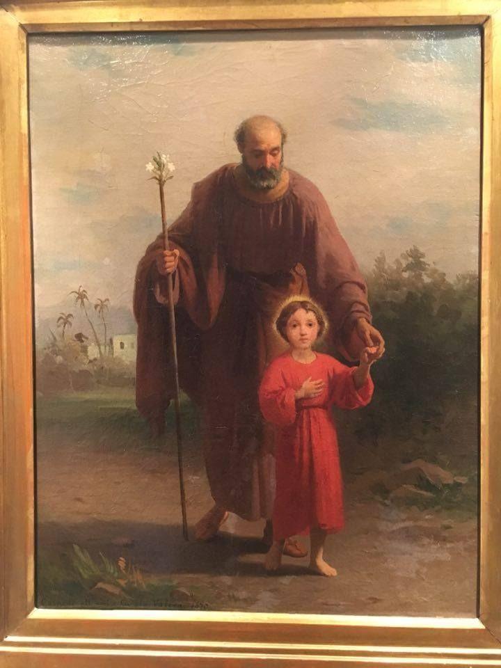 """San Giuseppe con Gesù dipinto per """"l'amico curato Valera"""" nel 1873, collezione privata. Raffaele Casnedi, pittore"""