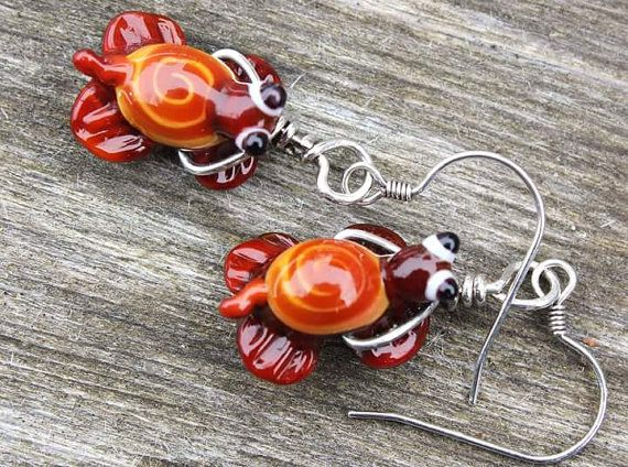 Turtle Earrings - brown, Brown Turtle Earrings, Glass Turtle Earrings, Handmade Glass Turtle, Lampwork Glass Turtle Earings, Turtle Beads